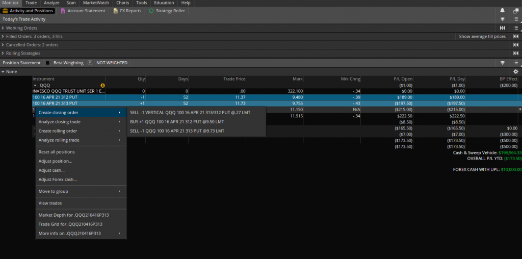 How to close a specific position on Thinkorswim using the position monitor page