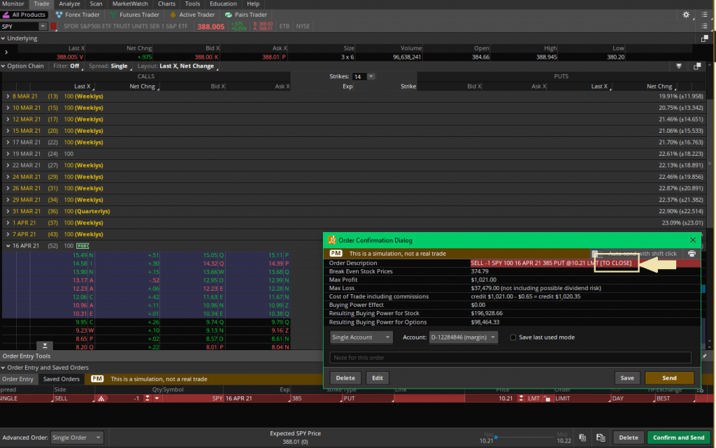 Closing positions with the trade tab Thinkorswim