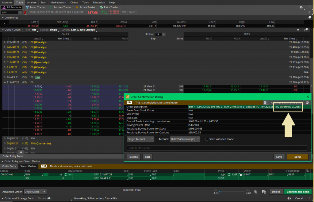 How to close a position on Thinkorswim using the trade page