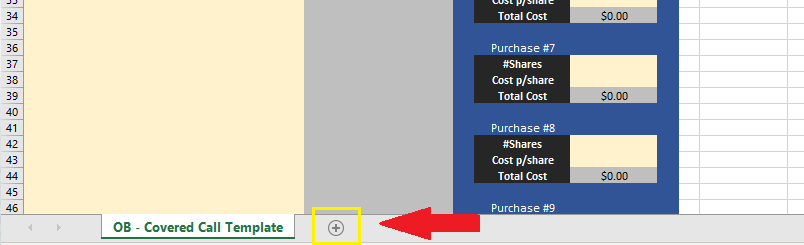 paste the free covered call spreadsheet template to a new sheet